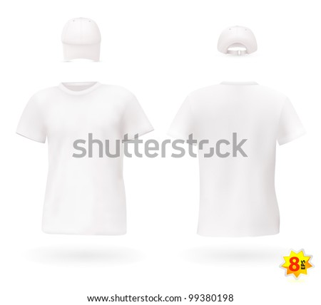 White Blank Mens T Shirt Template With A Cap