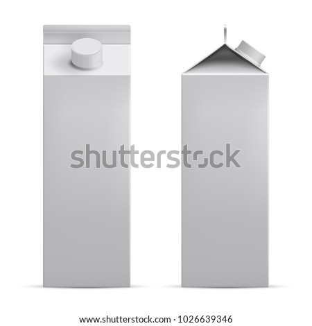 White blank mockup cardboard box, Package for milk, juice realistic 3d vector. White cardboard package with a screw cap for a drink. Front and side view. Template for advertising and product promotion