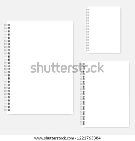 White blank notebook vector mock-up set. A4, A5, A6 size. Spiral clear notepads mockup. Wire bound diary template