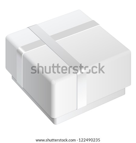 White blank Package Box. For gift. Vector illustration