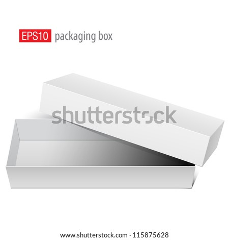White blank Package Box Opened with the cover removed. For electronic device and other products. Vector illustration