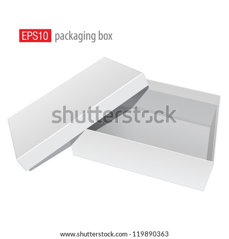 White blank Package Box Opened with the cover removed. For shoes, electronic device and other products. Vector illustration