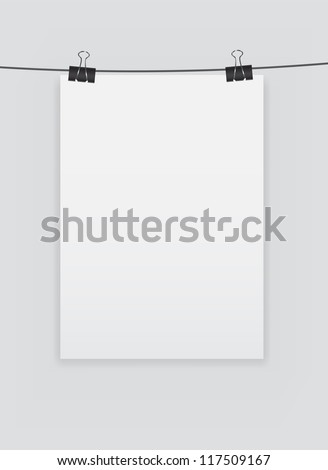 White blank page with clip vector illustration
