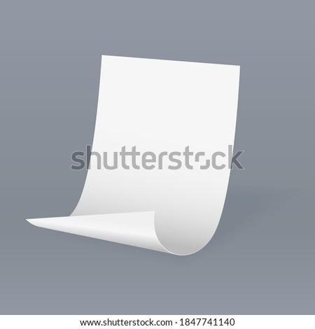 White blank paper sticker with bent corner. On gray background. Vector 3d illustration 商業照片 ©