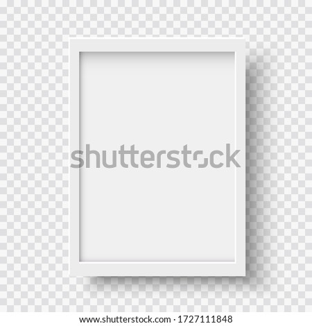 White blank picture frame, realistic vertical picture frame, A4. Empty white picture frame mockup template isolated. Vector illustration