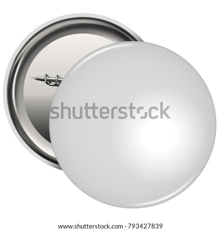 White Blank Pin Button Badge Isolated on White Background. Vector Illustration.