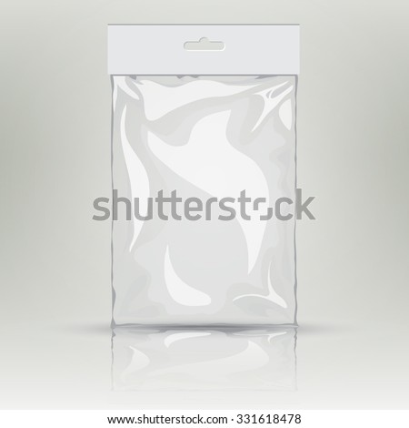 White blank plastic pocket bag. Vector transparent bag. With Hang Slot.  Mock up template of empty plastic container. Vector nylon bag illustration