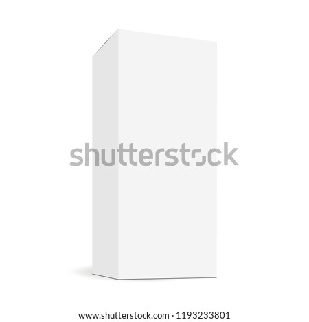 White blank rectangular tall box mock up with side perspective view. Sample for healthcare or cosmetic packaging design. Vector illustration