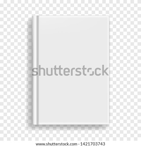 White blank rectangular vector blank realistic book, closed organizer or photobook cover template with sheet of A4. Front view of binding hardcover notepad or diary mockup for catalog, menu