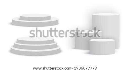 White blank round podiums. Set of pedestals. Vector illustration.
