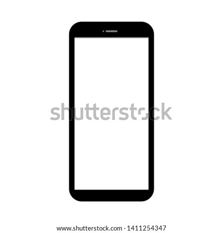 white  blank screen display smartphone with front camera isolated on white background. vector illustration