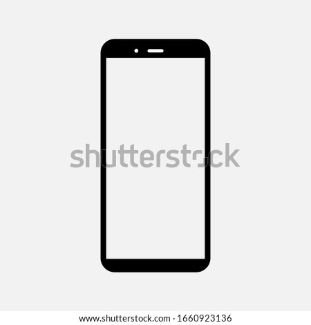 white blank screen display smartphone with front camera isolated on white background. vector illustration eps 10