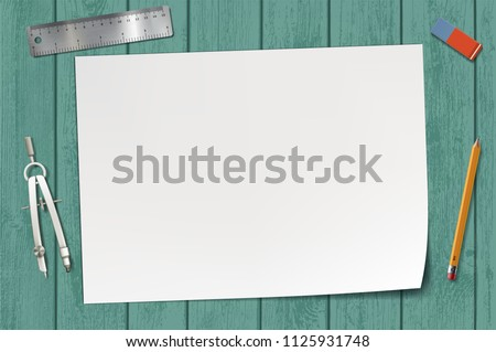 White blank sheet of paper on a wooden table. Workplace with stationery. Stock vector illustration.