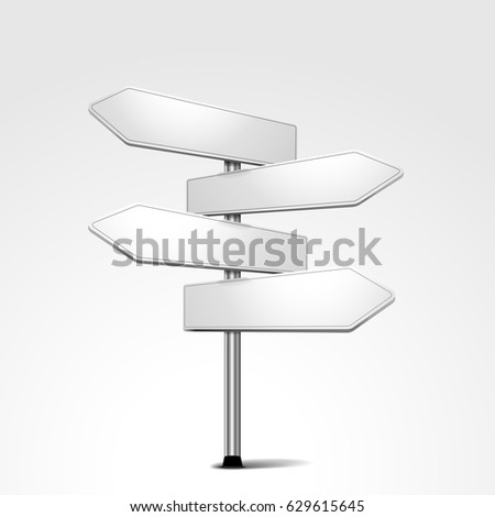 white blank signpost with four arrows pointing in different directions, eps10 vector