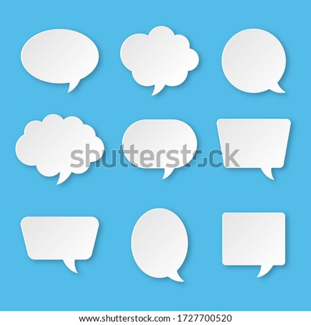 white blank speech bubble set isolated on blue background. vector illustration.