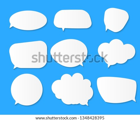 White blank speech bubbles, thinking balloon set on blue background. Vector Illustration EPS10