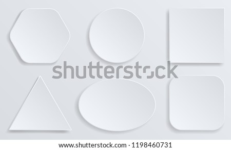 White blank square and rounded button vector set. Button banner round, badge interface for application illustration