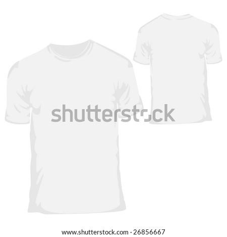 stock vector : White blank T-shirt design template for menswear