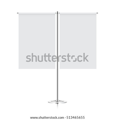 white blank table flag mock-up. double flag mockup #513465655
