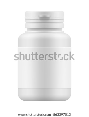 White blank template of plastic jar with cap for pills. 3d mock-up medical package for medication: tablets, vitamin or drugs. Medicine container for medicament. Vector pharmaceutical illustration