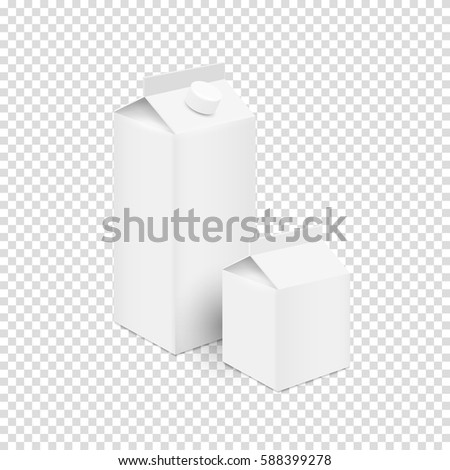 White blank tetra pak carton boxes for juice and milk. Design mock up template for branding. Vector set