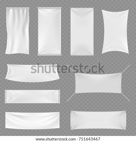 White blank textile advertising banners with folds isolated on transparent background. Vector illustration