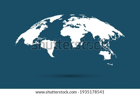 White blank vector map of the world isolated on blue background. Flat Earth, Globe worldmap icon.