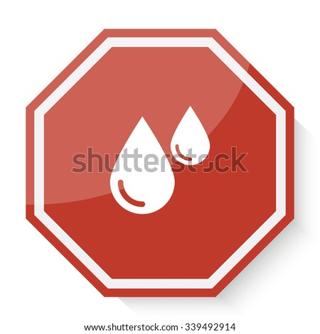 white blood icon on red stop