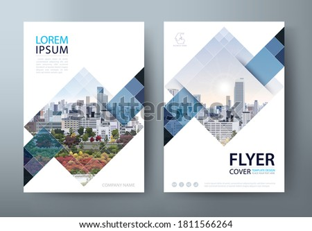 White blue annual report brochure flyer design, Leaflet cover presentation, book cover template.