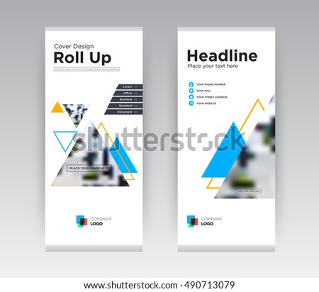 White Blue Creative Abstract Shapes Business exhibition Roll Up Banner Stand brochure flyer flat design template with new trend concept. Cover presentation. Corporate identity. Layout. Stock vector