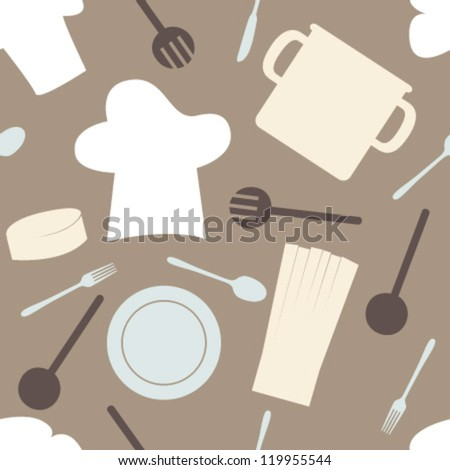 white, blue, dark brown cook set silhouette on brown seamless pattern