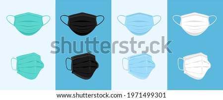 White, Blue, Green, Black Medical or Surgical Face Mask. Set of breathing protective medical, dust protection respirator, disease, virus prevention, flu protection, vector illustration.