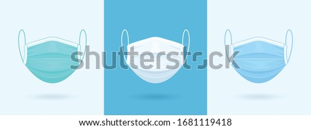 White, Blue, Green Medical or Surgical Face Mask. Virus Protection. Breathing Respirator Mask. Health Care Concept. Vector Illustration