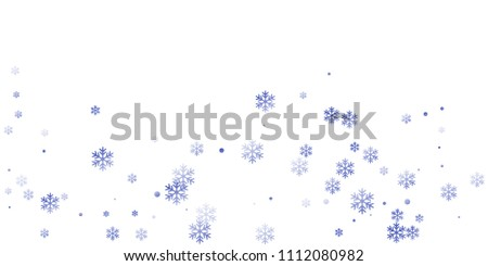 White blue snowflake macro vector illustration, snow flakes confetti chaotic scatter card. Winter xmas snow backdrop pattern. Flakes windy and flying winter trendy vector background.
