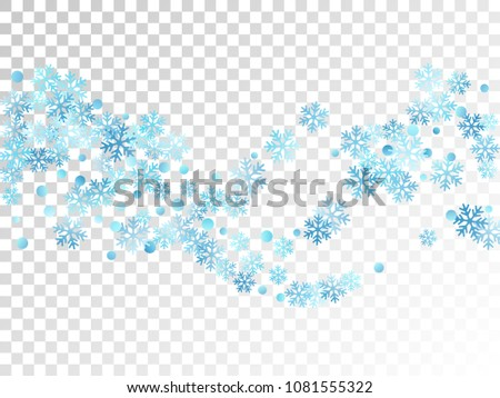White blue snowflake macro vector illustration, snow flakes confetti cool scatter card. Winter Christmas snow backdrop pattern. Flakes windy and flying winter trendy vector background.