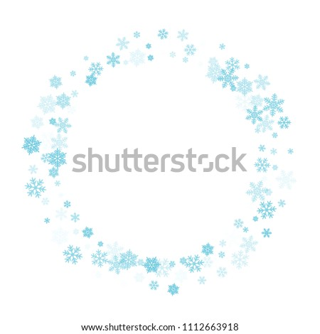 White blue snowflake macro vector illustration, snow flakes confetti magical scatter card. Winter new year snow background. Flakes windy and flying winter trendy vector background.
