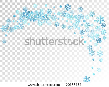 White blue snowflake macro vector illustration, snow flakes confetti magical scatter card. Winter Cristmas snow background. Flakes windy and flying winter trendy vector background.