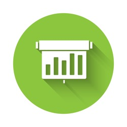White Board with graph chart icon isolated with long shadow. Report text file icon. Accounting sign. Audit, analysis, planning. Green circle button. Vector