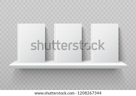White books on bookshelf. Empty school textbooks in modern office interior vector mockup. Bookshelf for library, shelf for books education illustration