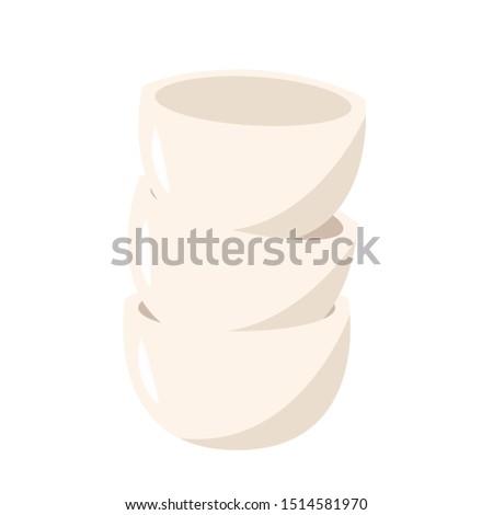 White bowl vector. bowl stack. bowl on white background.