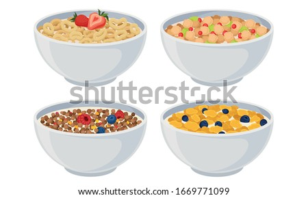 White Bowls of Breakfast Cereal and Cornflakes with Berries Vector Set Сток-фото ©