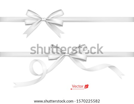 White bows with horizontal ribbons. Isolated. Vector bow.