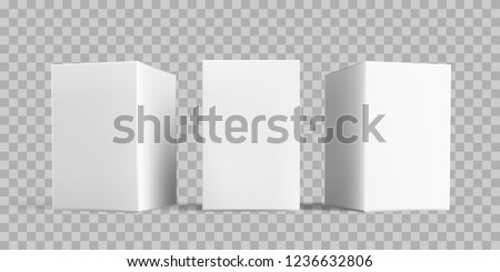 White box package mock-up set. Vector isolated 3D white carton cardboard or paper package boxes models templates on transparent background