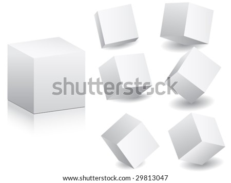 white boxes in different position vector illustration - stock vector