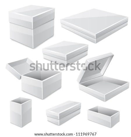 White boxes isolated on white. Vector