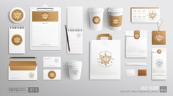 White Branding Mockup set for Coffee shop, Cafe, restaurant. Corporate identity mockup. Coffee food package. Realistic MockUp set of cardboard, envelope, single-time cup, paper pack, menu, shop bag