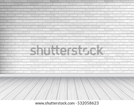 white brick wall and wooden