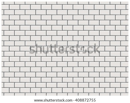 White brick wall in subway tile pattern.