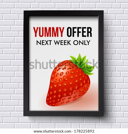 White brick wall pattern with business poster in picture frame. Vector illustration.