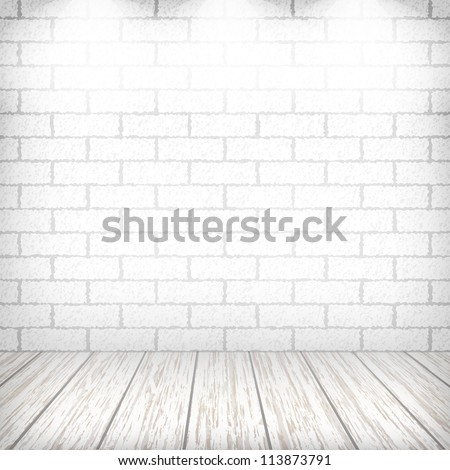 White brick wall with wooden floor and spotlights in a vintage interior. Vector eps10 illustration